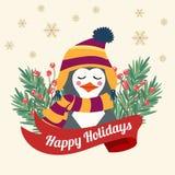 Рождественская открытка с braches дерева и одетым пингвином иллюстрация вектора
