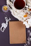 Рождественская открытка чистого листа бумаги copyspace зимы и рождества co Стоковые Изображения