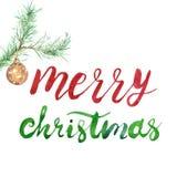 Рождественская открытка ChristmasMerry зимы веселая с текстом рук-литерности, орнаментом тросточки конфеты и ветвью сосны бесплатная иллюстрация