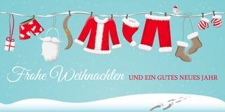 Рождественская открытка Frohe Weihnachten с santas одевает вектор иллюстрация штока