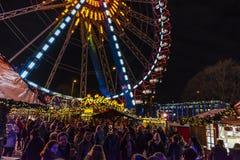 Рождественская ярмарка Alexanderplatz, Берлин стоковые изображения rf