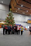 Рождественские гимны петь людей вокруг рождественской елки стоковые изображения rf