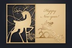 Рождественские открытки шаблона для вырезывания лазера Изображение сквозного Нового Года силуэта также вектор иллюстрации притяжк стоковое фото rf