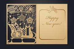 Рождественские открытки шаблона для вырезывания лазера Изображение сквозного Нового Года силуэта также вектор иллюстрации притяжк стоковое фото