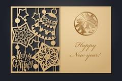 Рождественские открытки шаблона для вырезывания лазера Изображение сквозного Нового Года силуэта также вектор иллюстрации притяжк стоковое изображение rf