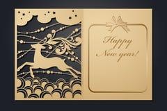 Рождественские открытки шаблона для вырезывания лазера Изображение сквозного Нового Года силуэта также вектор иллюстрации притяжк иллюстрация штока