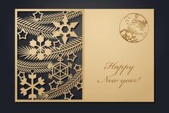 Рождественские открытки шаблона для вырезывания лазера Изображение сквозного Нового Года силуэта также вектор иллюстрации притяжк стоковые фотографии rf