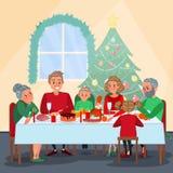 Рождественский ужин семьи с дедами Семья празднуя Новый Год зима снежка положения праздников мальчика иллюстрация штока
