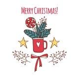 Рождество вектора веселое и С Новым Годом! набор поздравительной открытки с милой сладкой литерностью конфеты и руки вычерченной  иллюстрация вектора