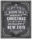 Рождество вектора и счастливый новый автомобиль приветствию доски 2019 год иллюстрация вектора