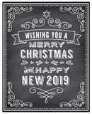 Рождество вектора и счастливый новый автомобиль приветствию доски 2019 год бесплатная иллюстрация