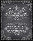 Рождество вектора и счастливый новый автомобиль приветствию доски 2019 год иллюстрация штока