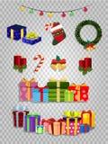 Рождество вектора установило атрибутов милого мультфильма праздничных на прозрачной предпосылке иллюстрация штока