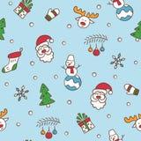 рождество веселое Безшовная картина с Санта Клаусом, рождественской елкой, северным оленем, снеговиком, подарком, снежинкой и дру бесплатная иллюстрация