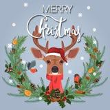 рождество веселое Иллюстрация праздничного венка ветвей ели, цитруса и специй и милых оленей иллюстрация штока