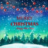 рождество веселое Ландшафт полесья рождества зимы с падая снегом, снежинками, coniferous лесом, гирляндами цвета с звездами Стоковое Фото