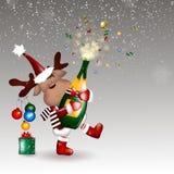 рождество веселое Предпосылка рождества с оленями рождества Стоковое Фото