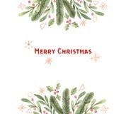 рождество веселое Рамка с снежинками, падуб акварели зимы, бесплатная иллюстрация