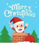 рождество веселое Санта в печной трубе с счастливым действием Стоковое фото RF