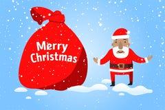 рождество веселое Санта Клаус с большим мешком подарков в сцене снега рождества иллюстрация штока