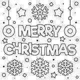 рождество веселое Страница расцветки Черно-белая иллюстрация вектора стоковое изображение rf