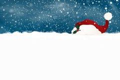 рождество веселое счастливое Новый Год Конструируйте шаблон для пустого знака с падая снегом, снежинками, шляпой santa рождества  Стоковое Фото