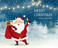 рождество веселое счастливое Новый Год Милый, жизнерадостный Санта Клаус с сумкой рождества вполне подарочных коробок, присутству Стоковая Фотография RF