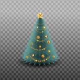 рождество веселое счастливое Новый Год Праздничный шаблон с ветвями сосны, гирлянда дизайна рождества, колокол звона, ягода падуб Стоковое Изображение RF