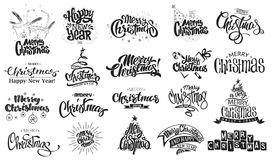 рождество веселое счастливое Новый Год Рукописная современная литерность щетки, комплект оформления Стоковая Фотография
