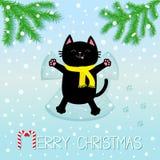 рождество веселое Черный усмехаясь кот кладя дальше назад Делать снег Анджела Moving лапки изолированная елью белизна вала Чарс е Стоковое Изображение RF