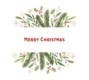 рождество веселое Ярлык с снежинками, падуб акварели зимы, иллюстрация штока