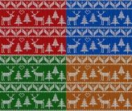 Рождество вязать безшовный комплект картины Предпосылка вектора Нового Года, рождества и зимы иллюстрация штока