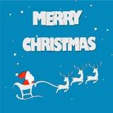 Рождество в бумажном origami искусства с вектором Санта Клауса и северных оленей Стоковые Изображения RF