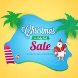 Рождество в дизайне фестиваля в июле, знамени продажи, плаката или рогульки с иллюстрация вектора