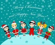 рождество детей карточки иллюстрация вектора