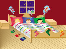 рождество детей мечтая вечер Стоковые Изображения