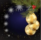 рождество дунутое шариками украсило стеклянное золото Стоковое фото RF