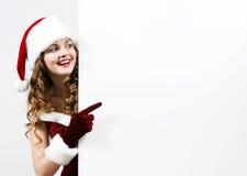 рождество женский держа santa карточки белый Стоковые Фото