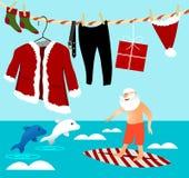 Рождество занимаясь серфингом с Санта Клаусом иллюстрация штока