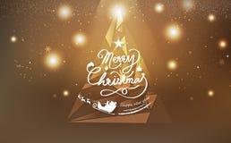 Рождество золота, украшение дизайна полигона дерева треугольника роскошное бесплатная иллюстрация