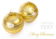 рождество золотистые 2 шариков Стоковое Изображение RF