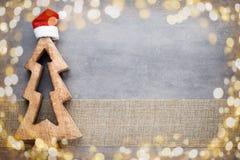 Рождество играет главные роли шляпа santa Картина рождества Предпосылка на Стоковая Фотография