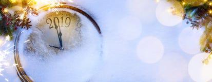Рождество искусства и 2019 счастливые Новых Годов предпосылки кануна стоковое изображение rf