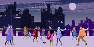 Рождество и Новогодняя ночь иллюстрация штока