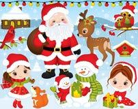 Рождество и Новый Год вектора установленные с Сантой, маленькими девочками, оленями, сычами и элементами зимы иллюстрация штока