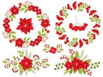 Рождество и Новый Год вектора установленные с флористическими венком и букетом Стоковое Изображение