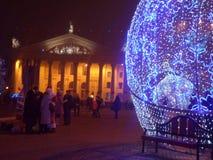 Рождество и Новый Год в городской площади стоковая фотография rf