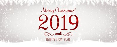 Рождество и Новый Год типографские на сияющей предпосылке Xmas с ландшафтом с снежинками, светом зимы, звездами иллюстрация штока