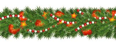 Рождество и счастливые гирлянда Нового Года и граница ветвей рождественской елки украшенных с ягодами, звездами и шариками падуба Иллюстрация вектора