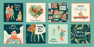 Рождество и счастливые шаблоны Нового Года Ультрамодный ретро стиль иллюстрация вектора